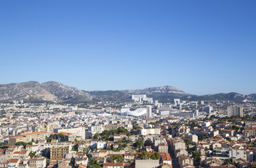 Aerial View of Marseille City and its new stadium, France