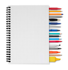Notebook, pens and pencils on white background