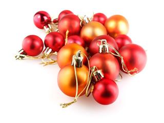 Red and orange christmas balls