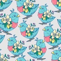 Wall Mural - bird textiles pattern