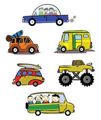 Hand Drawn Illustration of car collection
