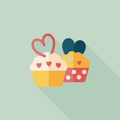 Valentine's Day cupcake flat icon with long shadow,eps10