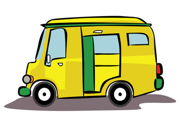 Yellow Van Car Cartoon