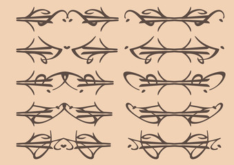 Vector decorative design elements in arabesque style