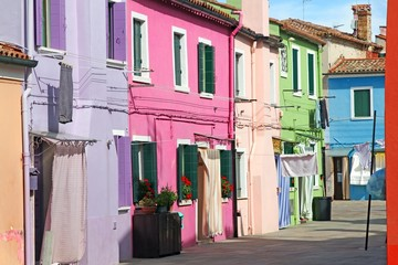 colorful houses on the island of BURANO near Venice in Italy