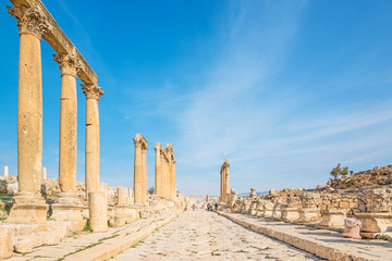 Ruins of the Greco Roman city of Gerasa in Jerash, Jordan