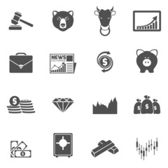 Finance exchange icons black