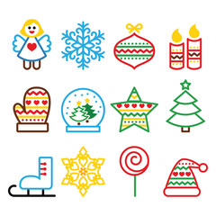 Christmas colored icons with stroke - Xmas tree