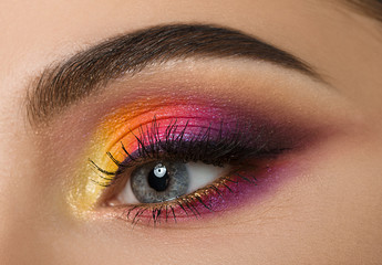 Woman eye with beautiful colourful makeup