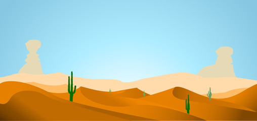 desert with dunes cactus and mountains