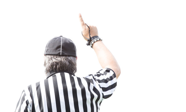 American football referee isolated on white.