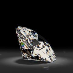Shiny white diamond on black background.