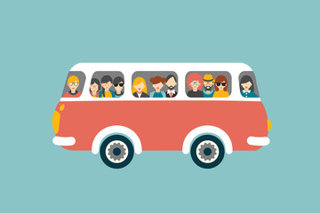 Retro bus with passengers. Flat vector concept.