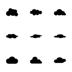 Vector black cloud icon set