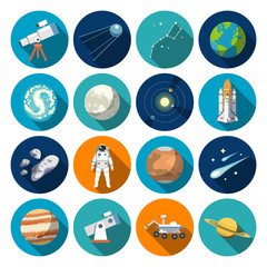 Flat design icons of astronomy. Vector icons.#1