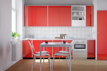 Interior einer roten kleinen Küche
