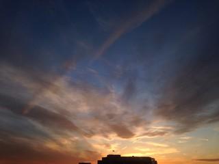 dramatic sunset in autumn