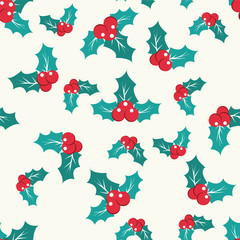 pattern with Holly Berry on a white background