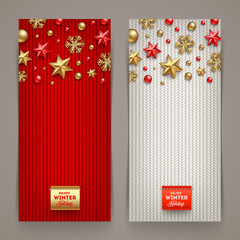 Holidays banners with knitting background and Christmas decor