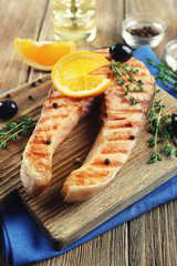 Grilled salmon  and orange slices