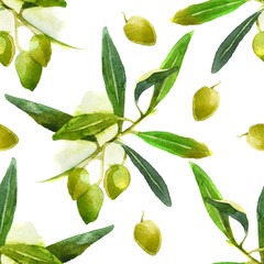 watercolor olives pattern