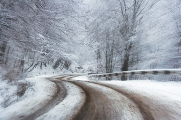 abstract speed road  in winter forest