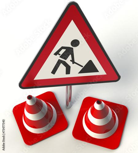 Baustelle schild frau  Vorsicht Baustellenschild