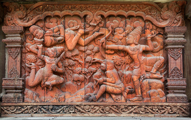 Ancient wood carving of ramayana