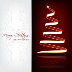 Christmas background with christmas tree for greeting card