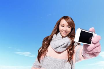 Happy woman traveler selfie