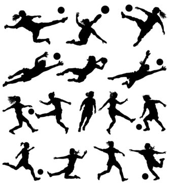 Women playing soccer vector silhouettes