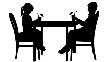 Vector silhouettes of children.