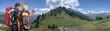 Hikers in Alpine Mountain ridge