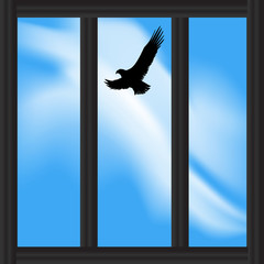 Looking at a Soaring Bird Out of a Prison Window