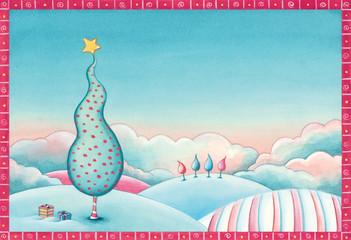 Christmas tree landscape. Watercolor illustration