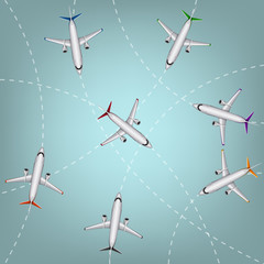Vector illustration of airplanes routes