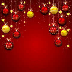 Red Christmas background with baubles