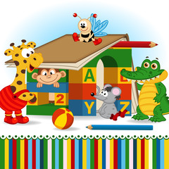 animals built house out of baby blocks - vector, eps
