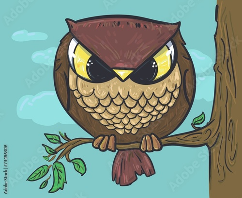 Wall mural Sitting on a tree. Owl vector