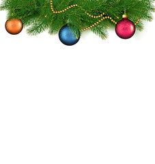 Christmas background with balls and branches. Vector illustratio