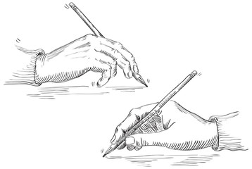 Vector of Hand Holding Pencil at retro engraving style.
