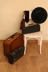 Vintage old travel suitcases