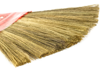 Close up broom isolated on white background
