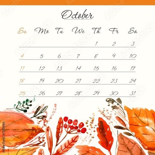 October Calendar Design : Quot calendar template october floral design