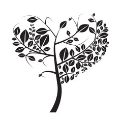 Heart Shaped Vector Black Tree on White Background