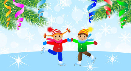 children on skates and branches of christmas tree