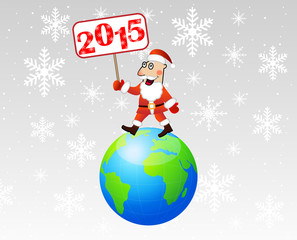 Santa claus steps on earth with a banner 2015 year in hands