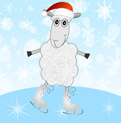 sheep in a christmas cap on skates