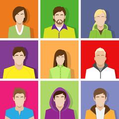 profile set icon avatar male and female portrait set