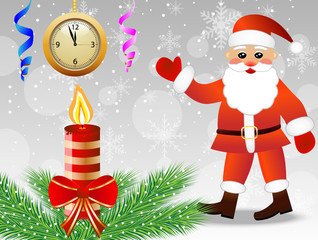 christmas postal with Santa claus, by hours and candle
